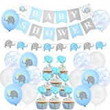 Blue Elephant Baby Shower Decoraciones Boy Elephant Balloons Garland Banner Baby Shower Chicos para Baby Boy Shower Decoraciones