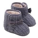Auxma Bebé niña Bowknot Soft Sole Zapatos Invierno cálido Calzado Botas (13(9-12 mese), Gris)