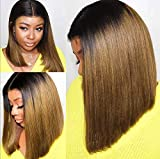 Pelucas sintéticas de moda a prueba de calor de color marrón degradado Bob marrón recto recto natural pelucas de fiesta para mujeres y niñas