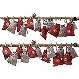 WENTS Calendario de Adviento Rellenar, 24 bolsitas de Tela, Juego para Rellenar, para Colgar, Bolsas de Yute, Bolsas de Tela, Bolsas, Base con 1-24 números para Calendario de Navidad DIY Deco