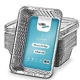 Bandejas De Papel Aluminio Desechables, Recipientes para Llevar De Papel Aluminio De 1l para Hornear, Cocinar, Congelar Y Almacenar, Bandejas con Tapas Plateadas (Paquete De 10)