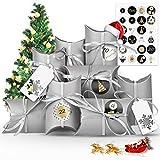 Vivibel Calendario de Adviento para rellenar, 1-24 bolsas de papel calendario de adviento con 24 números pegatinas para Navidad para manualidades y decoración, bolsas de regalo de Navidad para niños