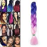 Trenzas de extensión Trenzas de cabello trenzado Ombre Cabello trenzado de una hebra Extensión de trenzas 100 g, tres tonos, azul a rosa oscuro a rosa claro
