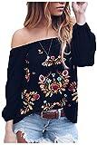 Suvimuga Mujeres Vintage Camisas Bordadas del Hombro Baggy Boho Blusa Tops Black L