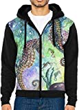Batik Seahorse Zip Up Hoodie Lightweight Pullovers Hooded Active Sweatshirts Hoodies