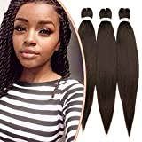 Extensiones de cabello Trenzas de cabello para mujeres Trenzas para niñas Extensiones de cabello Trenzas sintéticas Largas 65cm 3 hebras Fibras suaves 270g Rizado - Marrón oscuro