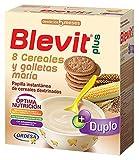 Blevit Plus Duplo 8 Cereales y Galletas María - Papilla de Cereales para Bebé con Fibra y sabor a Galletas - Favorece la Digestión - Desde los 5 meses - 600g
