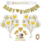 Decoracion Fiesta Baby Shower, Yuccer 40 PCS Accesorios para Baby Shower con Globos Baby Shower, Banda Mama, Guirnalda Bebe y Cupcake Toppers (Oro)