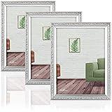 com-four 3X Marco de Madera para Fotos - Elegante Marco para Fotos de Boda - Marco con patrón para Fotos - 15 x 20 cm (Color Plateado)