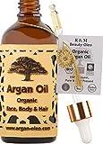 R&M Beauty-Oleo - Aceite de Argán orgánico prensado en frío. Aceite marroquí de comercio justo para masajes, cabello, cara, uñas, labios, cicatrices y espinillas. Botella con cuentagotas (100ml)