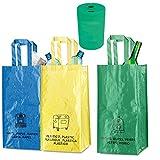 Natuiahan Pack de 3 Bolsas de Reciclaje Duraderas. Robustas, Prácticas y Fáciles de Limpiar y Transportar. Incluye un Pequeño Contenedor de Reciclaje de Pilas