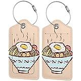 Colorido gatito huevo fideos Lage etiquetas bolsa pu cuero maleta etiquetas diseño viaje con cubierta trasera privacidad W/acero bucles