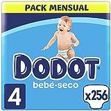 Dodot Pañales Bebé-Seco Talla 4 (9-14 kg), 256 Pañales con Protección Antifugas, Pack Mensual