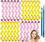 24pcs Rizos Espirales Kit, Rizadores de pelo mágicos en espiral, Magic Hair Curlers Spiral, Rizadores de pelo sin calor para cabello para Pelo Largo, Mediano y Corto (Ondulación del agua)