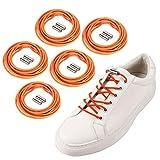 5 pares de cordones para zapatos perezosos de repuesto sin cordones elásticos para todos los partidos sin cordones con hebilla de cápsula metálica para zapatillas de deporte (naranja manchado)