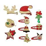 Frcolor 10pcs Pinzas para el Cabello de Navidad Horquillas para el Cabello Barrettes Accesorios para el Cabello Lindo Sombrero Tocado para niños