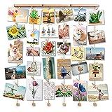 Love-KANKEI Marco de Pared con Soporte de Imagen de Cuerda con 30 Pinzas pequeans Color de Madera Natural Decoracion de hogar Encantadora Navidad