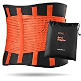 Vitalbak Faja Lumbar Hombre y Mujer - Alivia el Dolor y Las Lesiones en Cintura y Espalda - Cinturón Lumbar con Doble Ajuste - Gratis Bolsa de Transporte (M - 62 a 82 cm, Naranja)