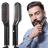 liaboe Cepillo Alisador de Barba 3 in 1 Profesional Multifuncional Peine Alisador Electrico para Hombr Rápido Peine Alisador Nutrición Aniónica Temperatura Regulable.