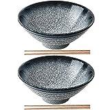 2X Tazón De Ramen Japonés De Cerámica,Tazones De Sopa Creativos con Palillos, Cuenco Grande De Fideos Vintage 900ml, Ramenbowls De Personalidad para Cereales, Pasta, Fideos, Aperitivo. (Azul)