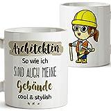 MUGFFINS Taza de café en alemán como Regalo para arquitectos - El Mejor Arquitecto del Mundo - 350 ml - Hermosas y Divertidas Tazas de café con Refranes, para Regalar