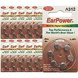 60 Pilas para audífonos EarPower 312 (paquete de 10 baterías de 6 celdas) / Baterías para audífonos / 0% Mercury / PR41 - Zinc Air - 1.45V / Size 312, A312
