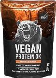 Batidos de proteínas veganas - Proteína vegetal 3K en polvo - de 3 componentes vegetales (guisante, cáñamo & arroz) - 1 Kg sabor chocolate - Para crecimiento y mantenimiento de masa muscular - de nu3