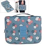 Bolso cosmético impermeable del maquillaje del bolso Bolso del almacenaje del almacenaje del bolso de la toalla con el gancho colgante para viajar azul