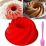 QAQGEAR Molde para molde para pasteles en espiral, antiadherente, de silicona, redondo, para hornear, ideal para fiestas, vacaciones para mousse, brownie de chocolate gasa tarta de queso fondant