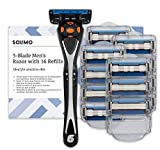 Marca Amazon - Solimo Maquinilla de afeitar de cinco hojas para hombre con 16 recambios