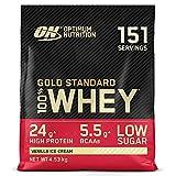 Optimum Nutrition Gold Standard 100% Whey Proteína en Polvo, Glutamina y Aminoácidos Naturales, BCAA, Helado de Vainilla, 151 Porciones, 4,53kg, Embalaje Puede Variar
