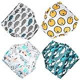 Flyish Pantalones de Entrenamiento para bebés, Ropa Interior, Pantalones de Entrenamiento para niños pequeños de algodón, 4 Paquetes, 18-36 Meses (Niños A, 2 años)