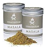 Strandküche Strandby Masala 2x70 g I Mezcla Hindú Bio cilantro mezclado con alcaravea pimienta canela clavo de olor cardamomo laurel citrico I Especia asiático perfecta para cocinar en el Wok
