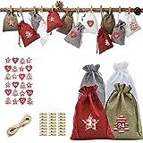 Calendario de Adviento Nicole Knupfer para rellenar, 24 bolsas de tela con 1 – 24 pegatinas de números de Adviento, bolsas de yute para Navidad