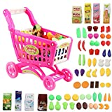 deAO Carrito de la Compra Infantil Incluye Variedad de 50 Productos de Mercado y Comestibles para Niños y Niñas (Rosa)