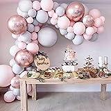 Miseagan 36PCS Globo Garland Kit Macaron Globo de l¨¢Tex Gris y Rosa con Globos de Papel de Oro Rosa 4D Set para Bodas Baby Shower Decoraciones de Fiesta de Cumplea