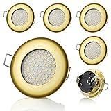 6 focos LED empotrables SW-68N Sweet Led planos, ultraplanos, 400 lúmenes, 3,5 W, 230 V (redondos, dorados, luz blanca cálida)
