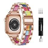 Correa De Reloj, Compatible Con Apple Watch Correa De 42Mm-44 Mm Series 6/5/4/3/2/1, Correa De Resina De Apple, Hebillas De Acero Inoxidable Para Hombres Y Mujeres (42 Mm/44 Mm, Arco Iris)