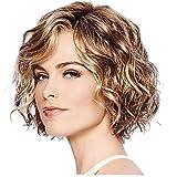 1PC Cabello ondulado pelucas Bob mixto sintético de color marrón corto rizado ondulado peluca de mirada natural de la peluca a prueba de calor del pelo de fibra para muchachas de las mujeres