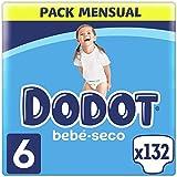 Dodot Pañales Bebé-Seco Talla 6 (+13 kg), 132 Pañales con Protección Antifugas, Pack Mensual