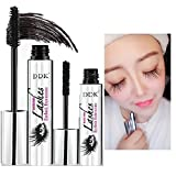 Máscara de maquillaje en crema para pestañas Nicebelle DDK 4D impermeable, color negro, extensiones de pestañas, estilo extralargo, máscara lavable con agua caliente