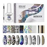 ROSALIND Nail Art Foil Glue 15ml y Foil Sticker 10 Rollos Nail Foil Transfer con 1 Nail Art Foil Brush, Apto para principiantes y profesionales