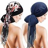 SATINIOR Turbantes de Sombreros para Mujeres Bufanda de Cabeza Suave de Pelo Largo Gorro de Dormir Cubierta de Cabeza (Azul Marino, Negro-Rosa, 2 Piezas)