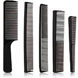 Set de 5 Peines de Corte de pelo Peine de Peluquero de Cabello Peine de Carbono de Dientes Finos Peine Cónico de Peluquería Resistente al Calor Antiestático para Hombres Mujeres