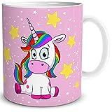TRIOSK Taza de unicornio divertido con arco iris Unicorn Lady Sit-in regalo para los amantes de los unicornios, mujeres, novias, niñas, niños, cumpleaños, color rosa