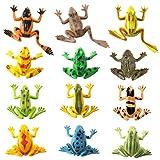 STOBOK 24 piezas de Ranas de plástico Figuras realistas de vinilo Ranas de goma Ranas Juguete educativo para niños