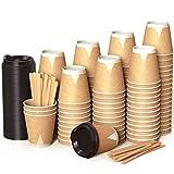 100 Kraft Vasos Desechables 240 ml de Doble Pared de Café para Llevar - Vasos Carton con Tapas y Agitadores de Madera para Servir el Café, el Té, Bebidas Calientes y Frías