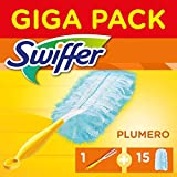 Swiffer Plumero Atrapapolvo + 15 Recambios, Mega Pack, Kit, Atrapa y Bloquea el Polvo