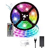 Tiras LED Luces LED TV Impermeable Strip LED RGB 5M 300LEDs 5050 Luces LED con Control Remoto IR de 44 Teclas y Caja de Control Kit de Tiras de Luces LED para Dormitorio Cocina Decoración