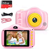 Cámara para Niños Infantil Cámara de Fotos Digital Cámara Juguete para Niños 3.5 Pulgadas 12MP 1080P HD Selfie Video Cámara Regalos Ideales para Niños Niñas de 3-10 Años con Tarjeta TF 32 GB (polvo)